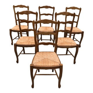 1910s Vintage French Country Rush Seat Walnut Dining Chairs-Set of 6 For Sale