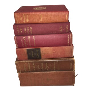 Vintage Books & Dictionaries in Red Hues - Set of 6 For Sale