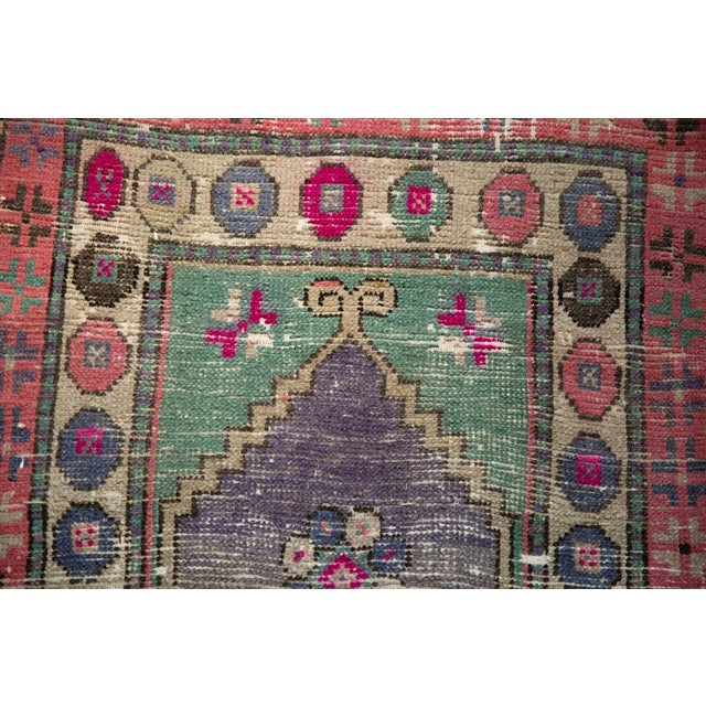 """Old New House Vintage Distressed Oushak Rug Runner - 2'4"""" X 4'10"""" For Sale - Image 4 of 9"""