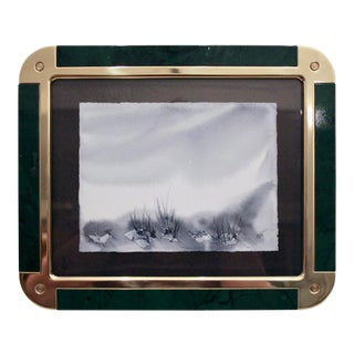 Brass & Faux Malachite Frame With Cameron O'Neal Watercolor For Sale