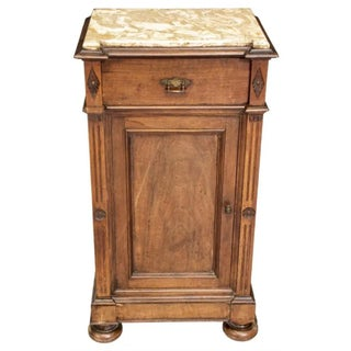 19th Century French Louis Philippe Period Tall Marble Top Bedside Table or Lamp Stand Preview