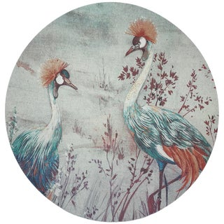 "Nicolette Mayer Crested Crane Turq Red 16"" Round Pebble Placemats, Set of 4 For Sale"