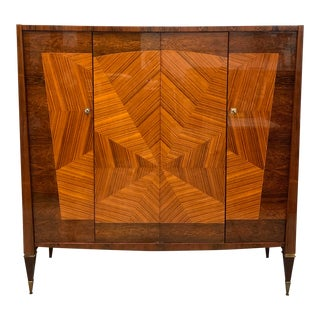1940s Art Deco ''Sunburst'' Macassar Ebony Armoires Wardrobes For Sale