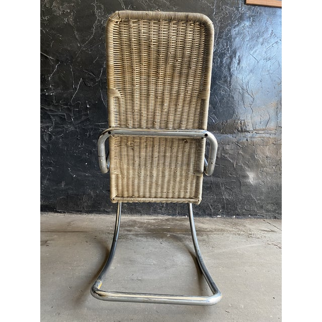 Vintage Woven Chrome & Rattan Italian Rocking Chair For Sale - Image 4 of 12
