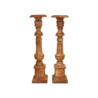 Industrial Iron Candle Holders - Pair For Sale