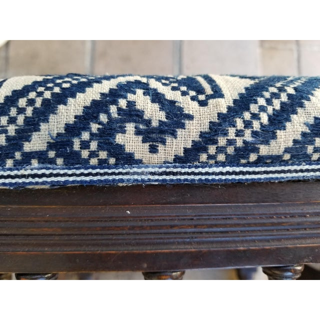 White Antique 1930s Hand Embroidered Tribal Footstool For Sale - Image 8 of 9