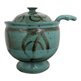 Vintage Mid Century Studio Pottery Footed Soup Tureen With Ladle For Sale