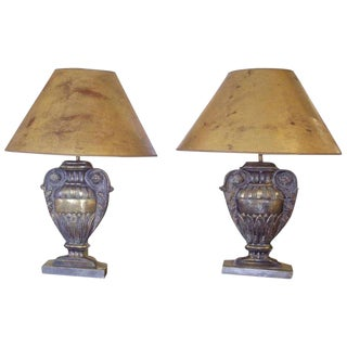Pair of Repousse' Brass Urn Lamps For Sale