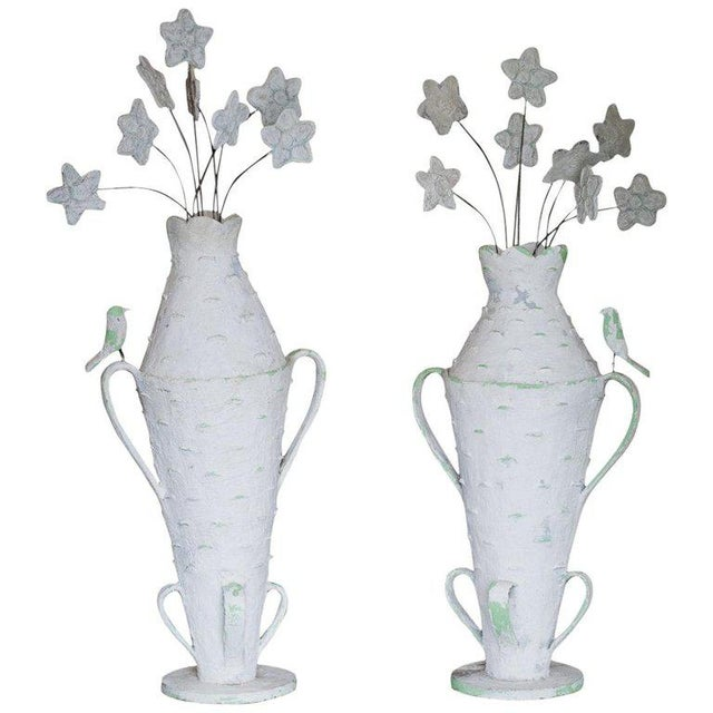 Pair of Monumental Cantral Valdez Urns With Flowers, 1950s For Sale - Image 13 of 13