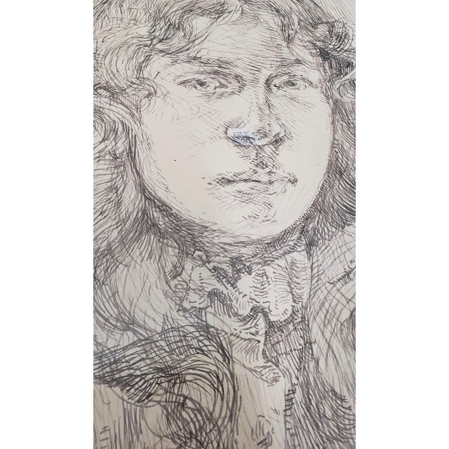 Vintage Pen and Ink Portrait of a Young Man A fine portrait of a young man with long wavy hair holding freshly picked...