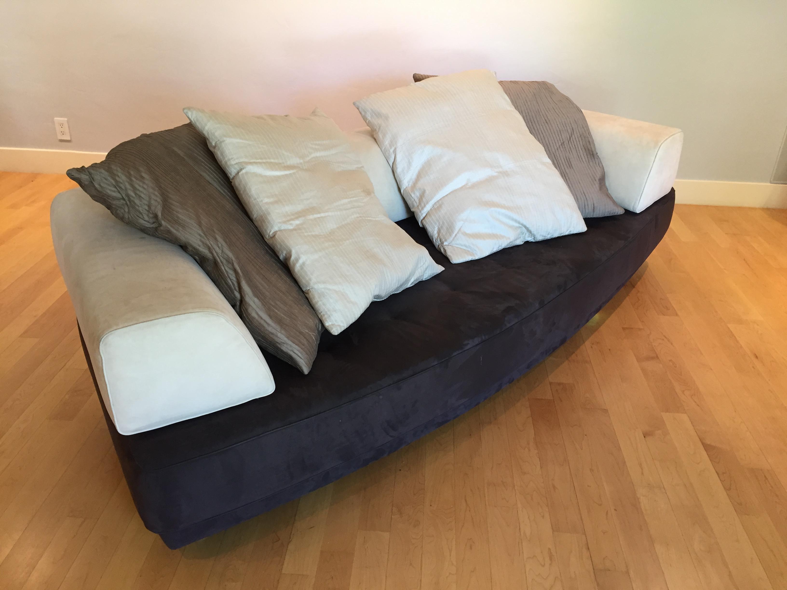 roche bobois floor cushion seating. Roche Bobois Modern 3-Seat Sofa With 4 Silk Pillows - Image 3 Of 5 Floor Cushion Seating