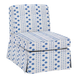 Virginia Kraft for Casa Cosima Slipper Chair, Polkat, Indigo For Sale