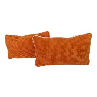 Orange Chenille Lumbar Pillows - A Pair For Sale