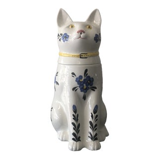 Cat Ceramic Cookie Jar by Mancer, Italy For Sale