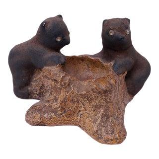 Vintage Chalkware Bear Cub Sculpture For Sale