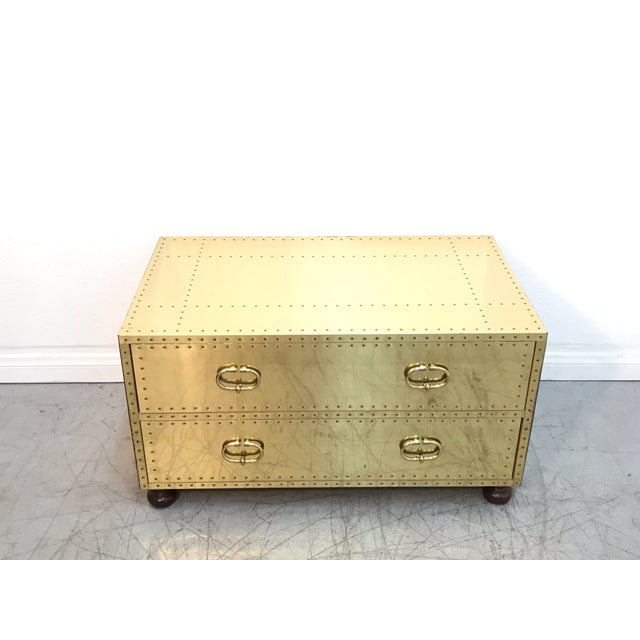 Excellent vintage condition Sarreid brass chest with two drawers, very heavy and high quality. Made in the 1970s.