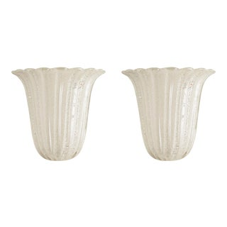 1990s Fluted Murano Sconces - a Pair For Sale