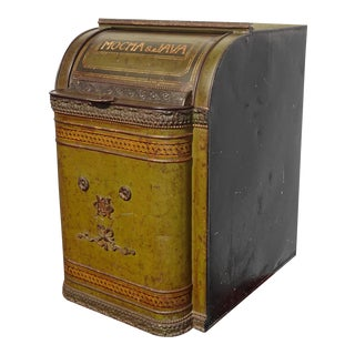 Large Green Coffee Bin 19th Century Toleware by Henry Troemner of Phily Pa For Sale