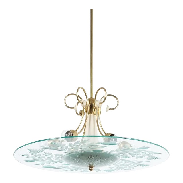 Large Chandelier Luigi Brusotti Glass Brass, Italy, Circa 1940 For Sale