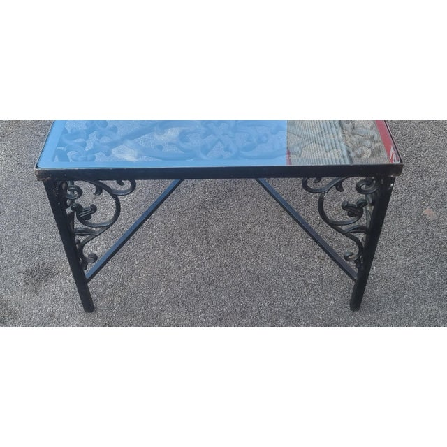 Heavy Wrought Iron Glass Top Coffee Table ~ Fabricated From Old French Gate, 50 X 29.5 ~1990s For Sale In New York - Image 6 of 13