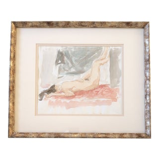 Original Female Nude Vintage Watercolor Painting For Sale