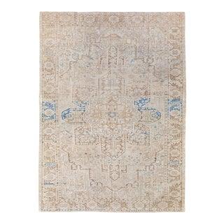 Antique Persian Heriz Handmade Medallion Designed Beige and Blue Wool Rug For Sale