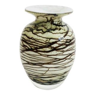 Vintage Michael Nourot Blown Glass Vase For Sale