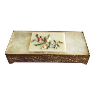 Antique Chinese Green Jade and Engraved Brass Trinket Box For Sale