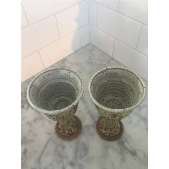 Mid-Century Brown Chalice/Goblets Pottery - Pair - Image 3 of 5