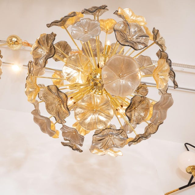 Mid-Century Modern Gold Leaf and Smoked Murano Glass Flower Pendant For Sale - Image 3 of 5