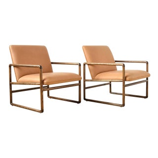 Pair of Ward Bennett Lounge Chairs by Brickel For Sale
