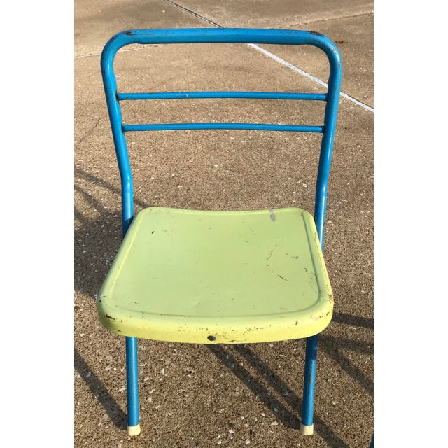 Metal Vintage Children's Metal Folding Chairs - a Pair For Sale - Image 7 of 11
