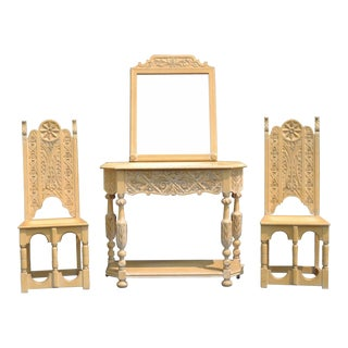 Jacobean Renaissance Revival Oak Hall Console Table Mirror Pair Side Chairs Set For Sale