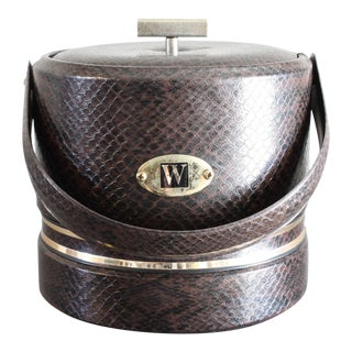 Georges Briard Faux Snakeskin Ice Bucket With Brass Accents For Sale