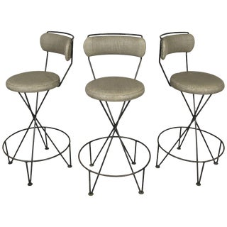 1950s Mid Century Iron Barstools - Set of 3 For Sale