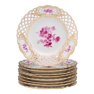 Meissen Reticulated Painted Floral Motif Plates, in a Rose Palette - Set of 8