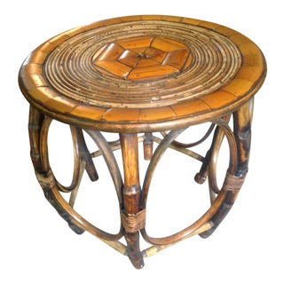 20th Century Asian Bamboo Rattan Bo Ho Side Table For Sale