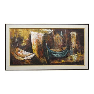 Mid-Century Abstract Acrylic Painting For Sale