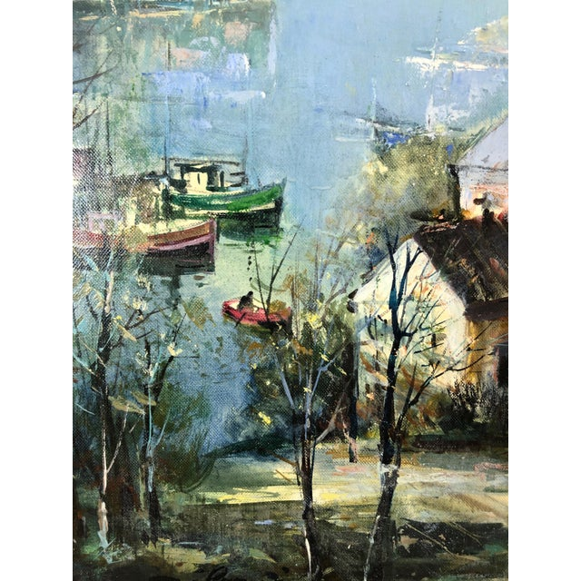 French Oil on Canvas of Port Landscape by Lucien Delarue For Sale - Image 3 of 5