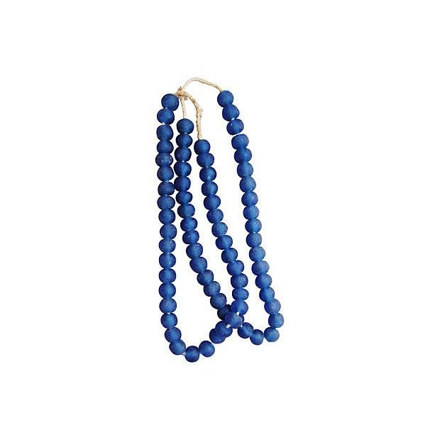 Cottage Azure Blue Sea Glass Beads - a Pair For Sale - Image 3 of 4