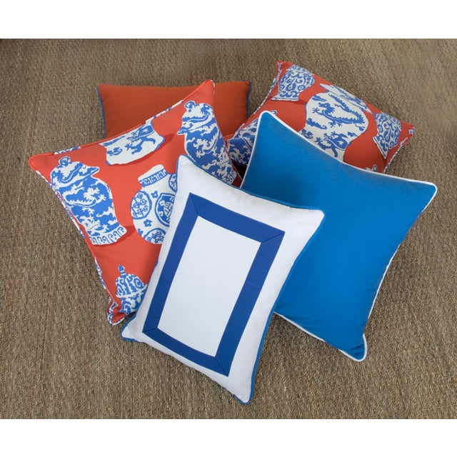"""Paradise Collection Blue Pillow Cover . With Zipper . White Contrast Welt . 22"""" X 22"""" - Image 8 of 8"""
