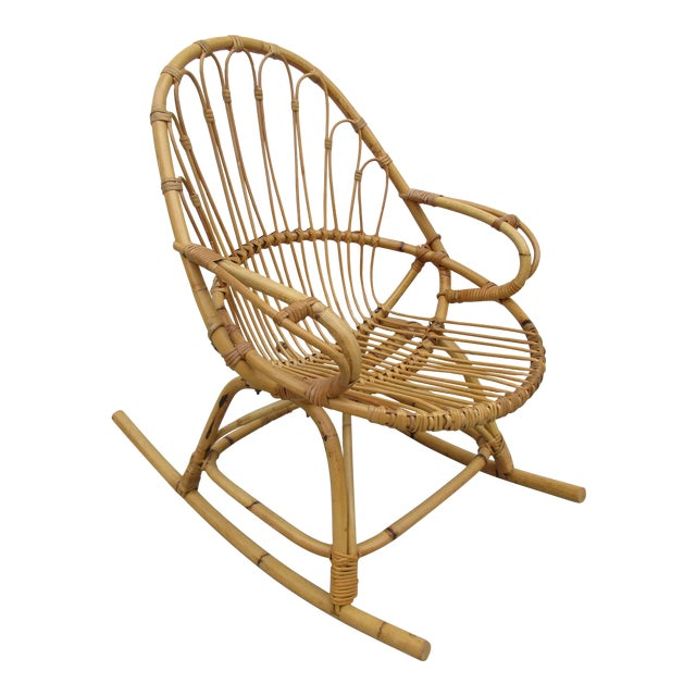 Bamboo and Wicker Rocking Chair - Image 1 of 8