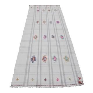 Vintage Turkish Wool on Cotton Cicim Kilim Rug - 3′4″ × 8′5″ For Sale