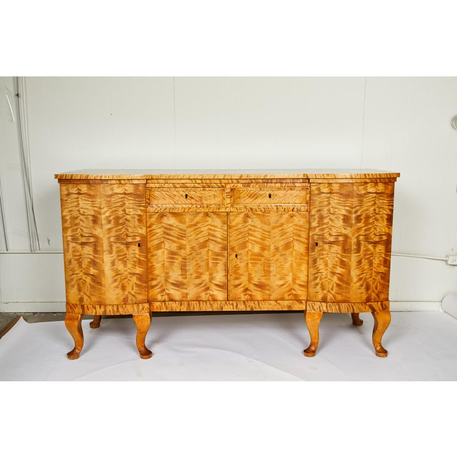 Wood Swedish Art Deco Sideboard of Bookmatched Golden Flame Birch For Sale - Image 7 of 13