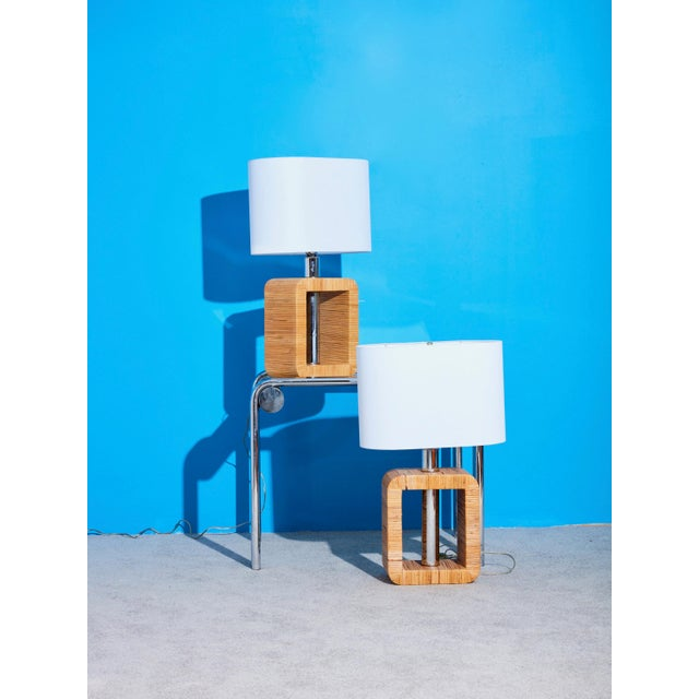 Mid-Century Rattan Lamps - a Pair For Sale - Image 4 of 5