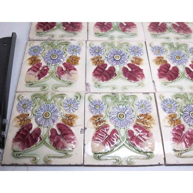 Floral Decorative Colorful Art Nouveau Tiles - Set of 15 For Sale - Image 6 of 10