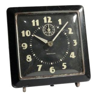 Black Mid-Century Modern Westclox Spur Alarm Clock, C. 1940s For Sale