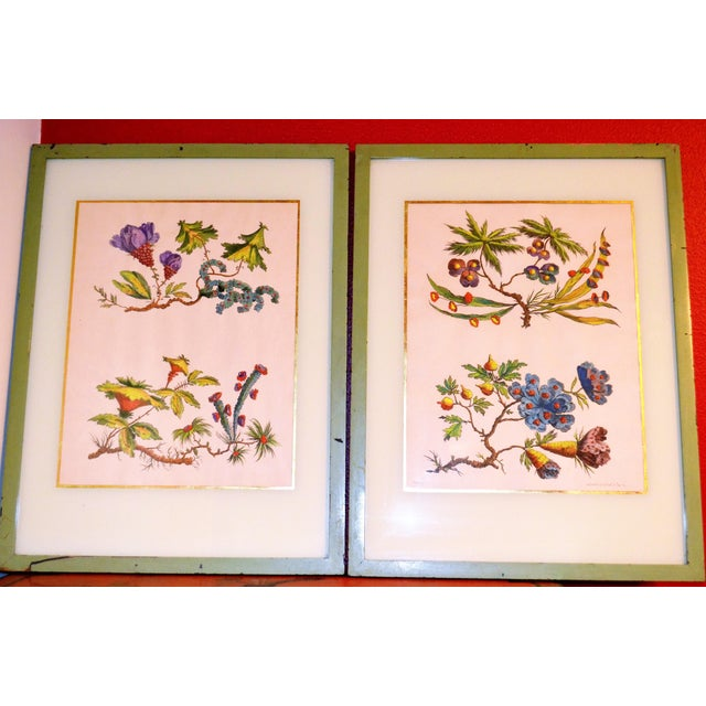 French Chinoiserie Hand Colored Floral Prints - Image 11 of 11
