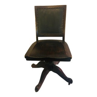1920s Vintage Wood & Leather Office Swivel Chair For Sale