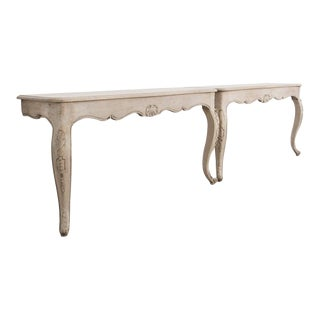 French Bleached Oak Console Tables - a Pair For Sale